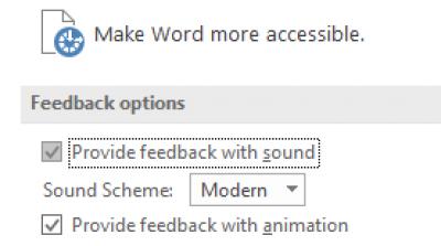 Częściowy widok ustawień ułatwień dostępu w programie Word